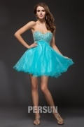 A line Strapless Sweetheart Beaded Organza Cocktail Dress