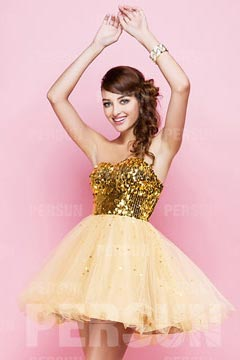 Sandown Yellow Strapless Sequins Princess Cocktail Dress