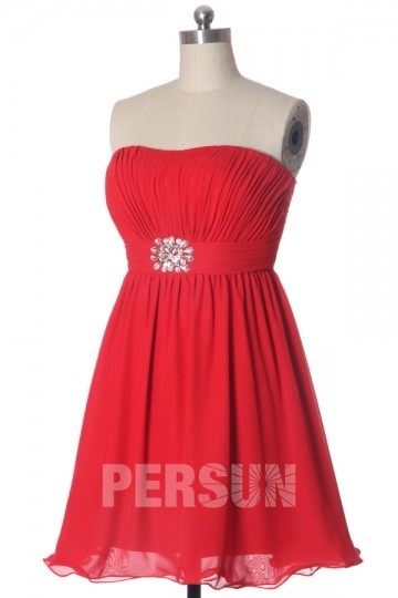 Rhinestone Strapless A line Red Chiffon Cocktail Dress