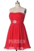 Brooch Strapless A line Red Chiffon Bridesmaid Dress