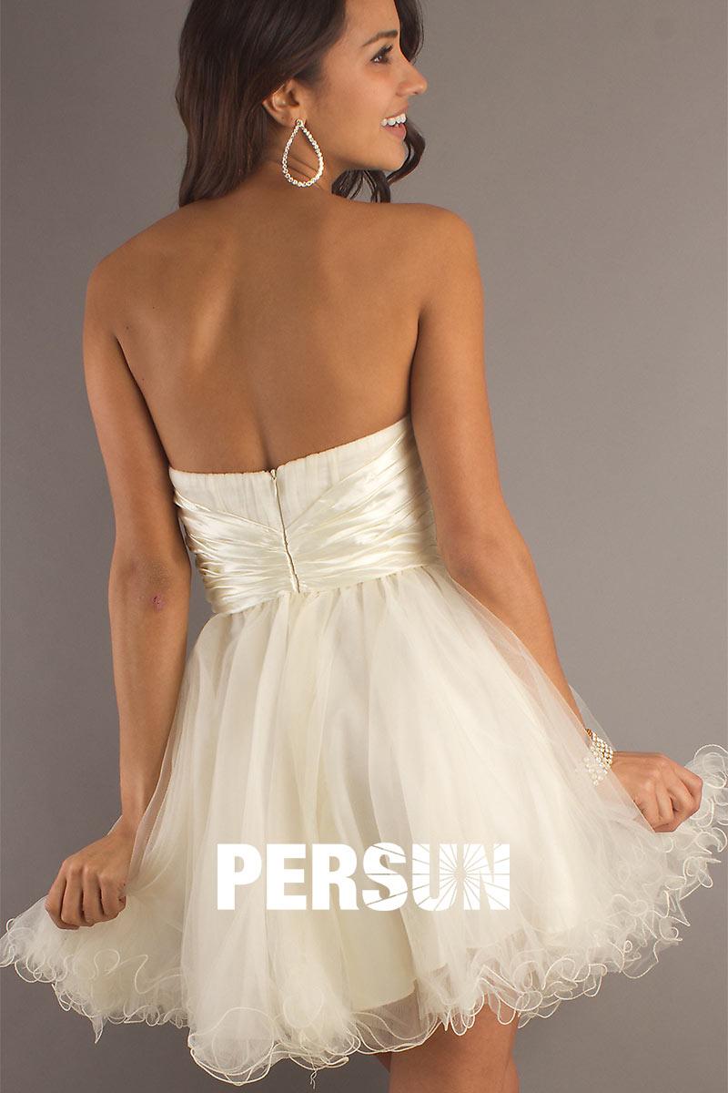 Robe courte tulle blanc
