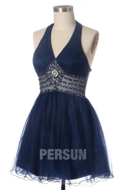Beaded V neck Halter A line Tulle Dark Blue Bridesmaid Dress