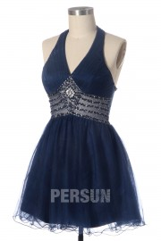 A line V neck Halter Beaded Cocktail Dress