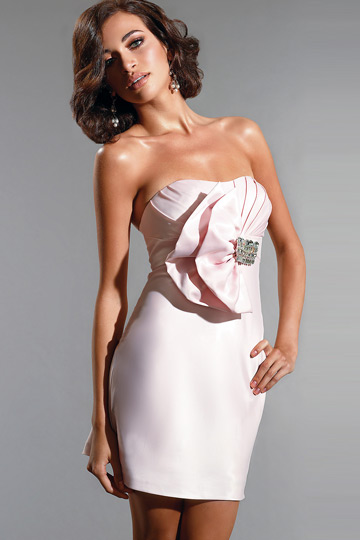 Ruffle Beaded Strapless Pink Column Satin Cocktail Dress