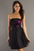 A line Strapless Black Cocktail Dress