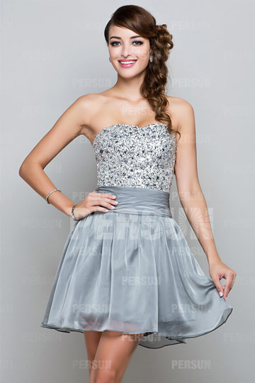 Dressesmall Sequins Beading Sweetheart Chiffon Mini A line Cocktail Dress