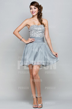 Somerton Gray Sweetheart Sequins Mini Cocktail Dress