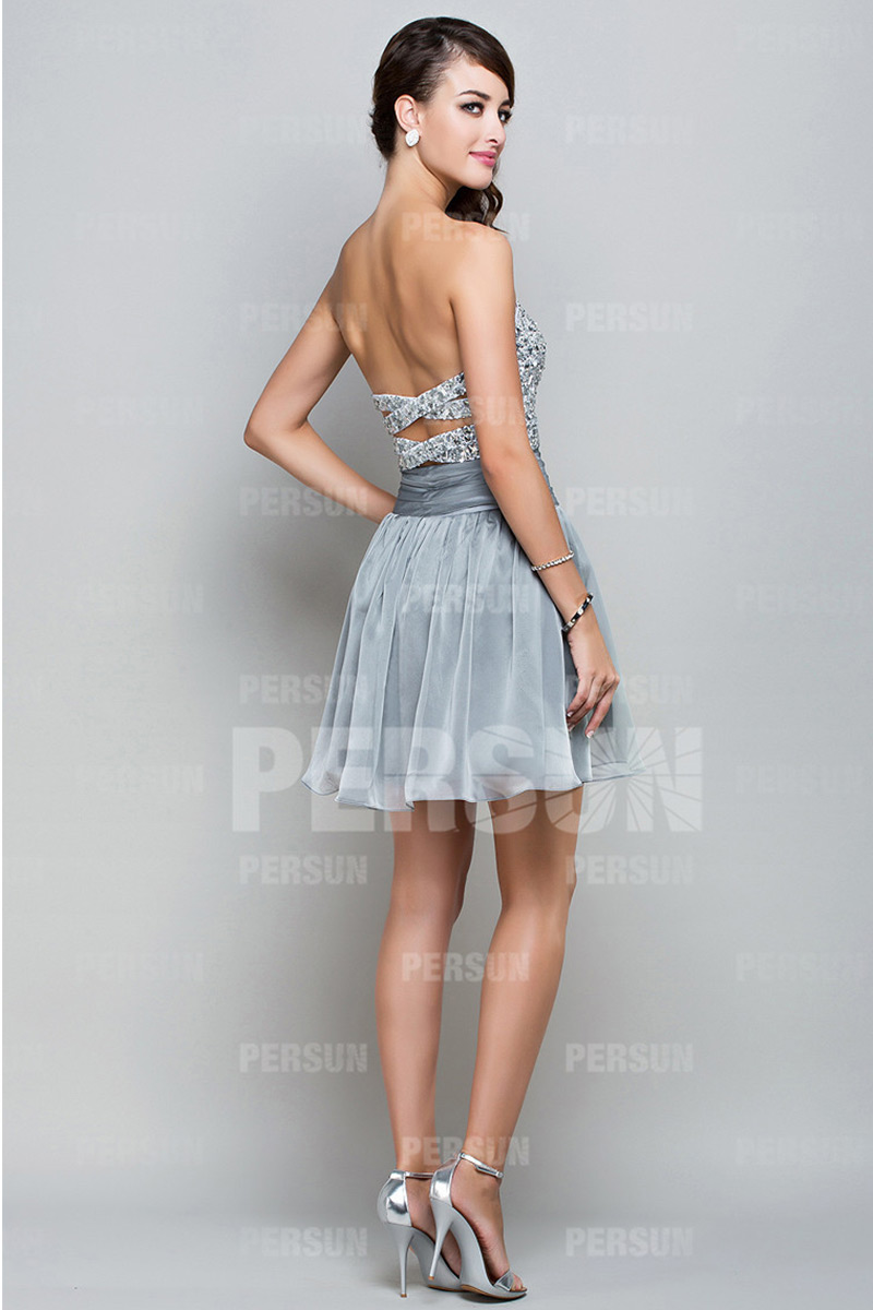 Sequins Beading Sweetheart Chiffon Mini A line Cocktail Dress