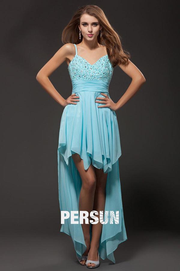 Vorne Kurz Hinten Lang blaues Kleid