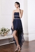 Blue Beading Pleated Strapless Chiffon A line Cocktail Dress