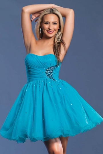 Beaded Baby Doll Strapless A line Blue Organza Cocktail Dress
