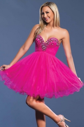 Beaded Baby Doll Strapless A line Organza Cocktail Dress
