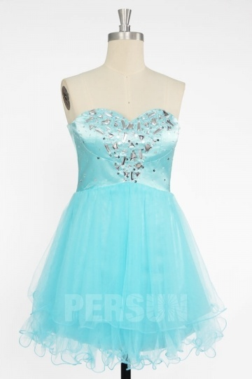 Sweetheart Beading Criss Cross A-line Organze Prom/Cocktail Dress