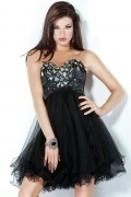 Southport Organza Sweetheart Beading Short Black Prom dress