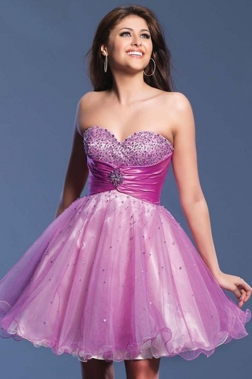 Cute Beaded Strapless Tunic Baby Doll Organza Cocktail Dress
