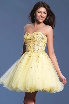 South Shields Yellow Sweatheart Crystal Cocktail Dress