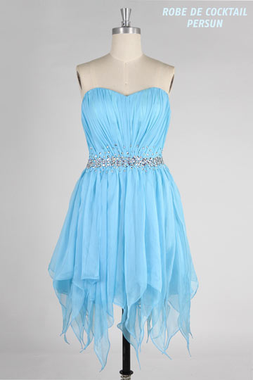 Dressesmall Beading Pleated Sweetheart Tencel Column Cocktail Dress