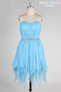 Beaded Pleats Strapless A line Tencel Short Blue Bridesmaid Dress