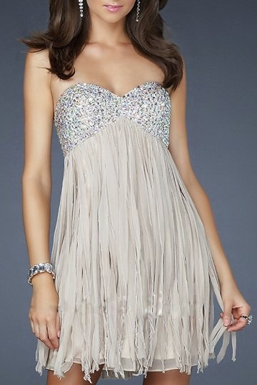 A-line Strapless Tassel Beaded Chiffon Cocktail Dress