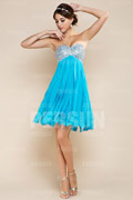 Beaded Tassel Strapless A line Chiffon Wedding Party Dress