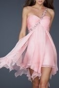A-line One Shoulder Beaded Chiffon Cocktail Dress