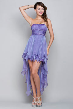 Strapless Ruched Ruffle High Low Purple Prom Dress