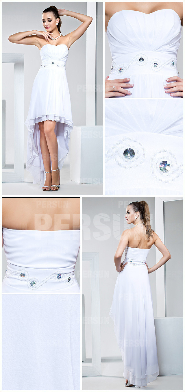 white ruched beaded sweetheart chiffon A line high low cocktail dress