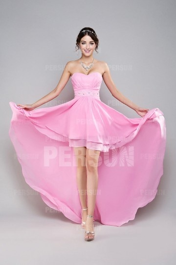 Sweetheart Ruched Beaded  High Low Chiffon Prom Dress