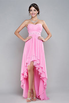 Sweetheart Strapless Ruffle High Low Pink Prom Dress