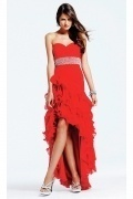 Ruched Ruffle Sweetheart A line High Low Chiffon Prom Dress