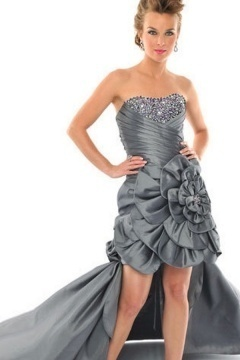 Taffeta Strapless Ruched Flower High Low Gray Prom Dress