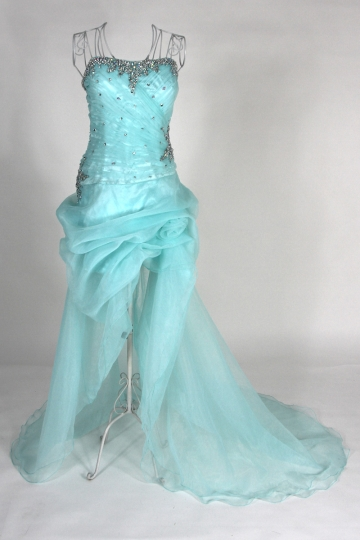 Strapless Beaded High Low A-line Organza Prom Dress