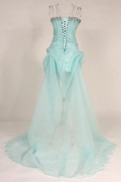 Beaded Ruching Strapless Organza High Low A line Prom Dress