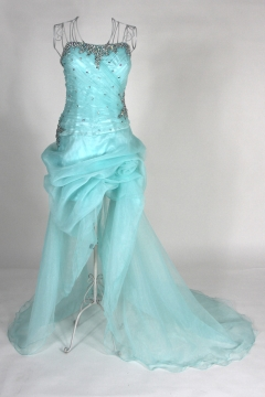 Beaded Ruching Strapless Organza High Low A line Cocktail Dress