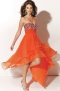 Beaded Sweetheart A line High Low Tencel Prom Dress