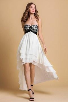 Persun Silky Chiffon Black & White A line High Low Formal Dress