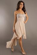Vestidos de Baile  Frente curta apertado elegante com alça fina e cristal