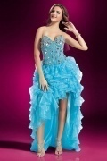 Unique Ruffle Sweetheart A line Organza High Low Prom Dress