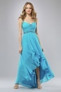 Elegant Ruffle Straps A line Chiffon High Low Prom Dress