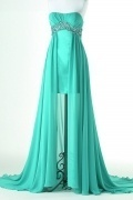 Elegant A line Pleated High Low Prom Dress with Crystal