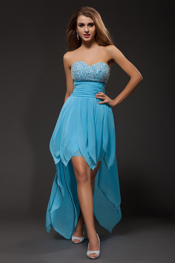 Strapless Empire High Low Tencel Prom Dresses with Crystal