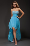 Crystal Detail Strapless A line Chiffon High Low Party dress