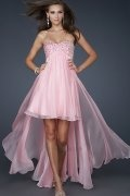 Elegant Crystal Detail trapless A line Tencel High Low Prom Dress
