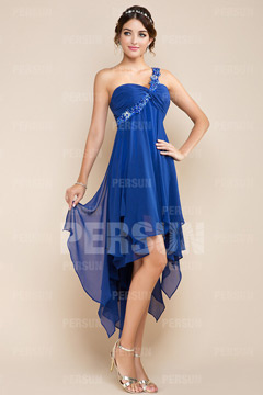 Elegant One Shoulder High Low Chiffon Blue Graduation Dress