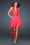 Sexy Ruffle Beaded Deep V neck A line Tencel High Low Prom Dress