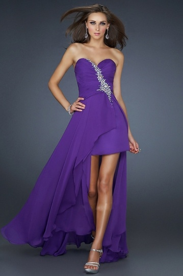 Sexy Beaded Crystal Detail Sweetheart A line Chiffon High Low Prom Dress