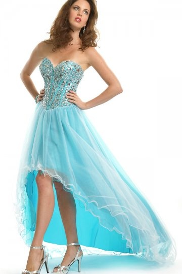A line Sweetheart Crystal High Low Prom Dress