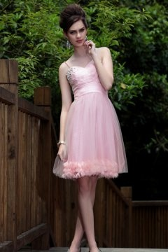 Sweet Tulle Spaghetti Straps Short Pink Cocktail Dress In Stock