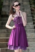 Sexy Beading Ruching Halter Satin Purple A line Short Prom Dress