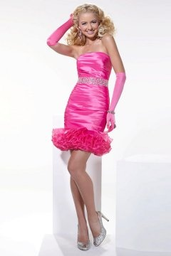 Sweet Strapless Sheath Ruffle Pink Cocktail Dress